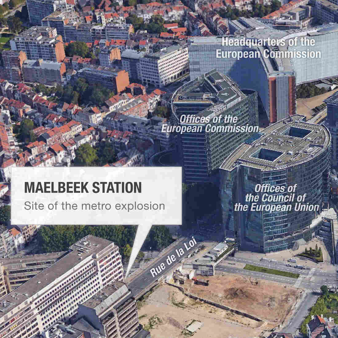 Map of Maelbeek metro station area