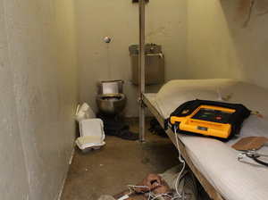 Simmons' body is seen on the floor of the solitary cell he shared with Sesson — who killed Simmons after being locked up with him for less than six hours. The Menard personnel tried to resuscitate Simmons with a defibrillator seen on the bunk. This image was provided by the Randolph County State's Attorney Office after a Freedom of Information Act request.