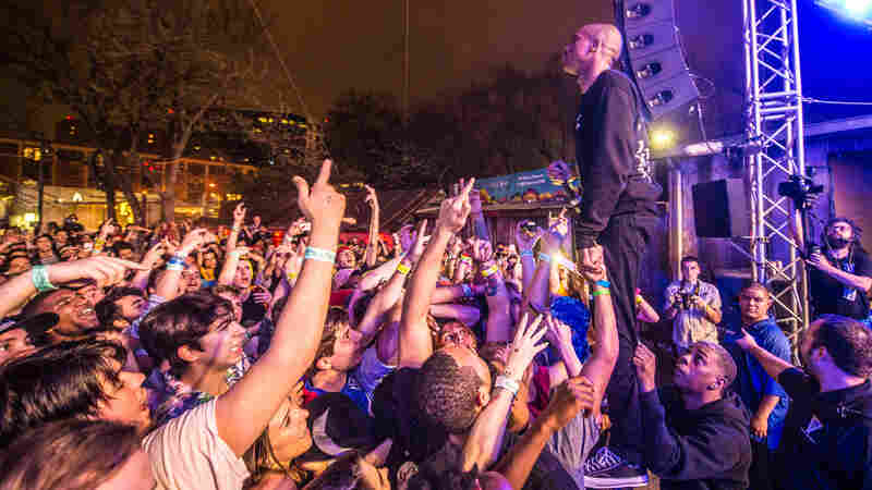 SoCal rapper Vince Staples looks out over the packed house at Stubb's BBQ during NPR Music's SXSW 2016 showcase.
