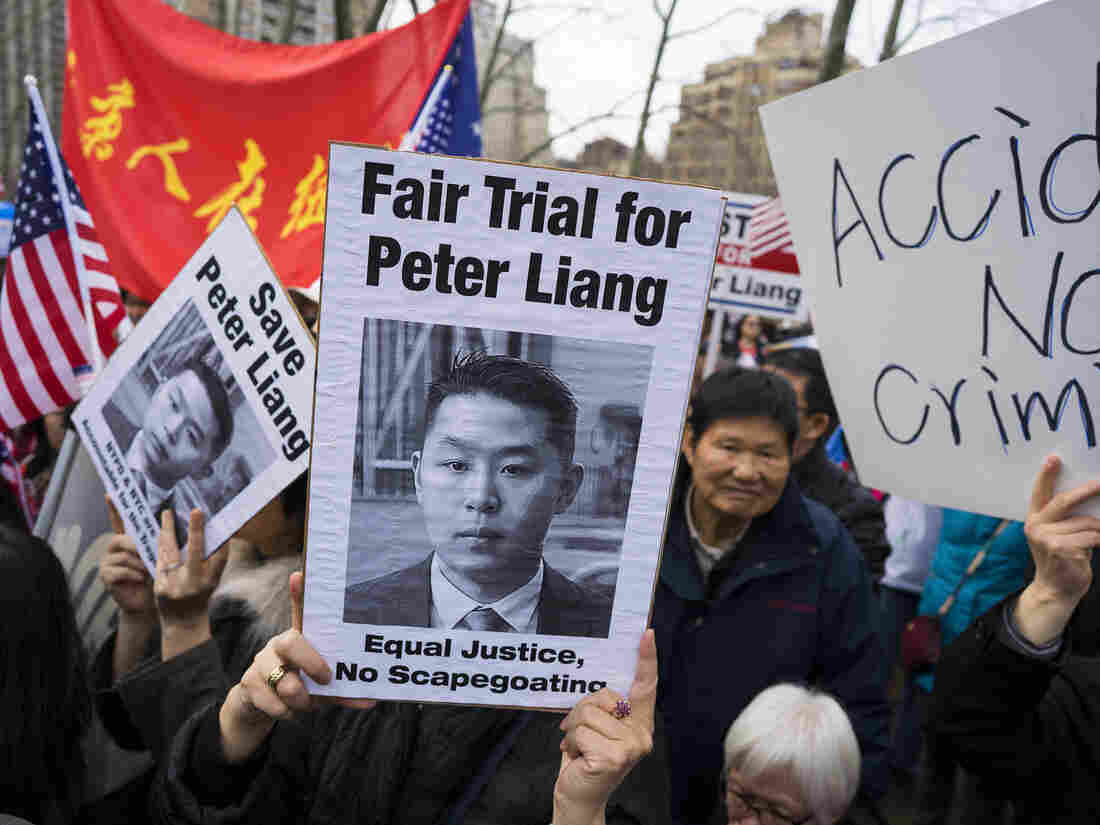 In this Feb. 20 photo, protesters attend a rally in Brooklyn, New York, in support of former NYPD police officer Peter Liang, who was convicted of manslaughter for the 2014 shooting death of Akai Gurley.