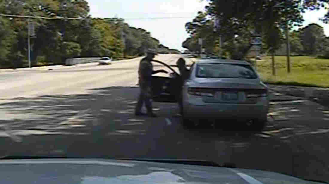 In this July 10, 2015, image taken from dashcam video provided by the Texas Department of Public Safety, Texas State Trooper Brian Encinia confronts Sandra Bland in Waller County,Texas.