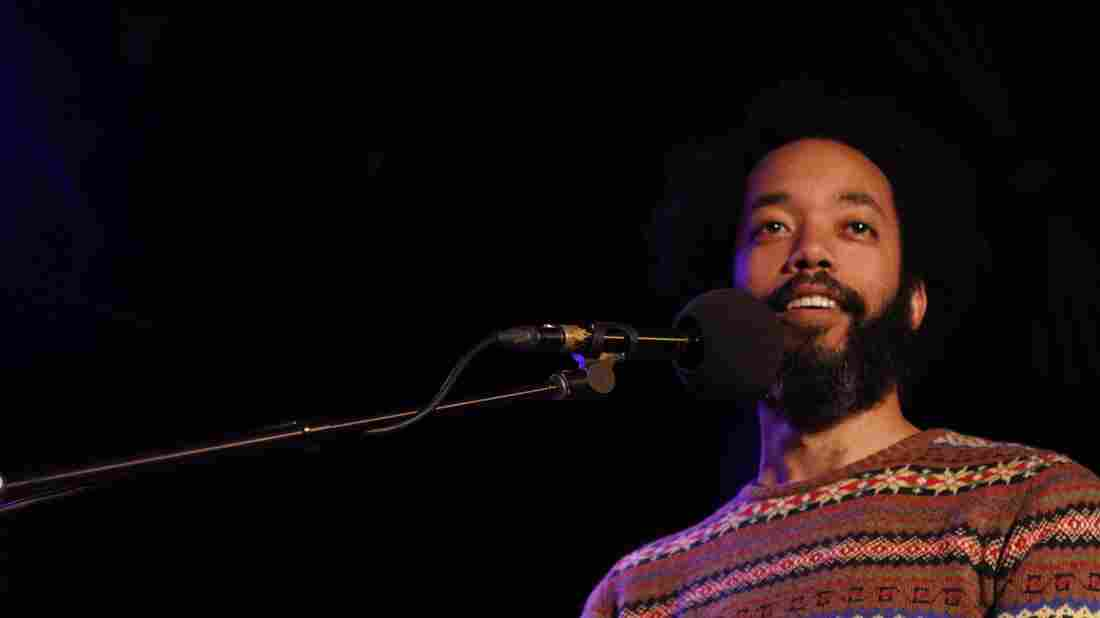 Comedian Wyatt Cenac on Ask Me Another at the Bell House in Brooklyn, New York.