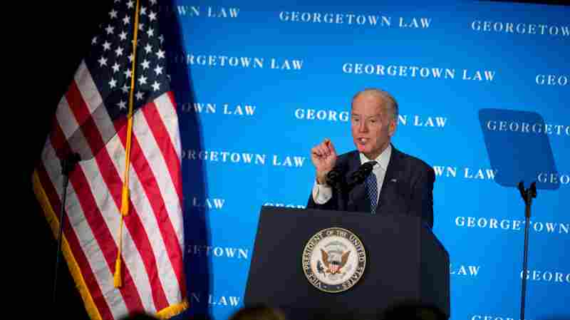 Vice President Biden speaks at the Georgetown Law Center Thursday. He argued why he believes Republicans should consider Obama's Supreme Court nominee.