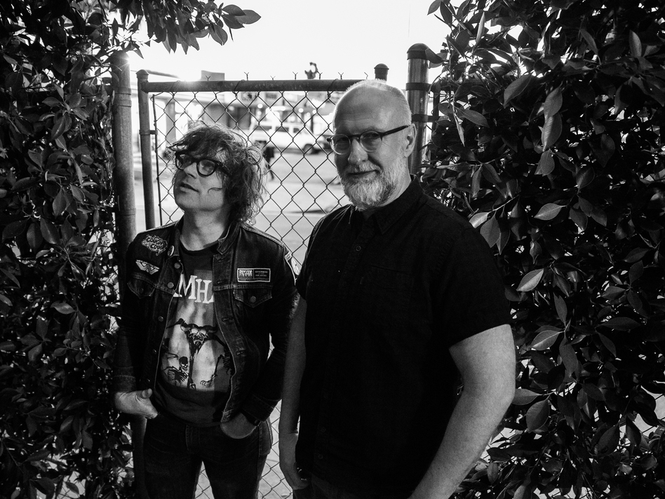 Ryan Adams and Bob Mould outside Adams' PAX-AM Studios earlier this week. (Courtesy of the artist)
