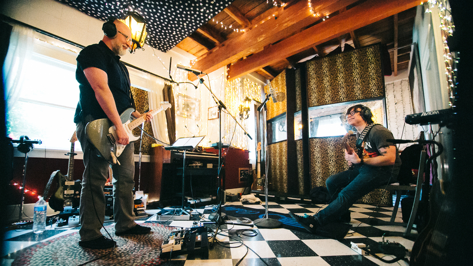 Bob Mould and Ryan Adams at Adams' PAX-AM Studios earlier this week. Mould's new album, Patch The Sky, comes out March 25. (Courtesy of the artist)