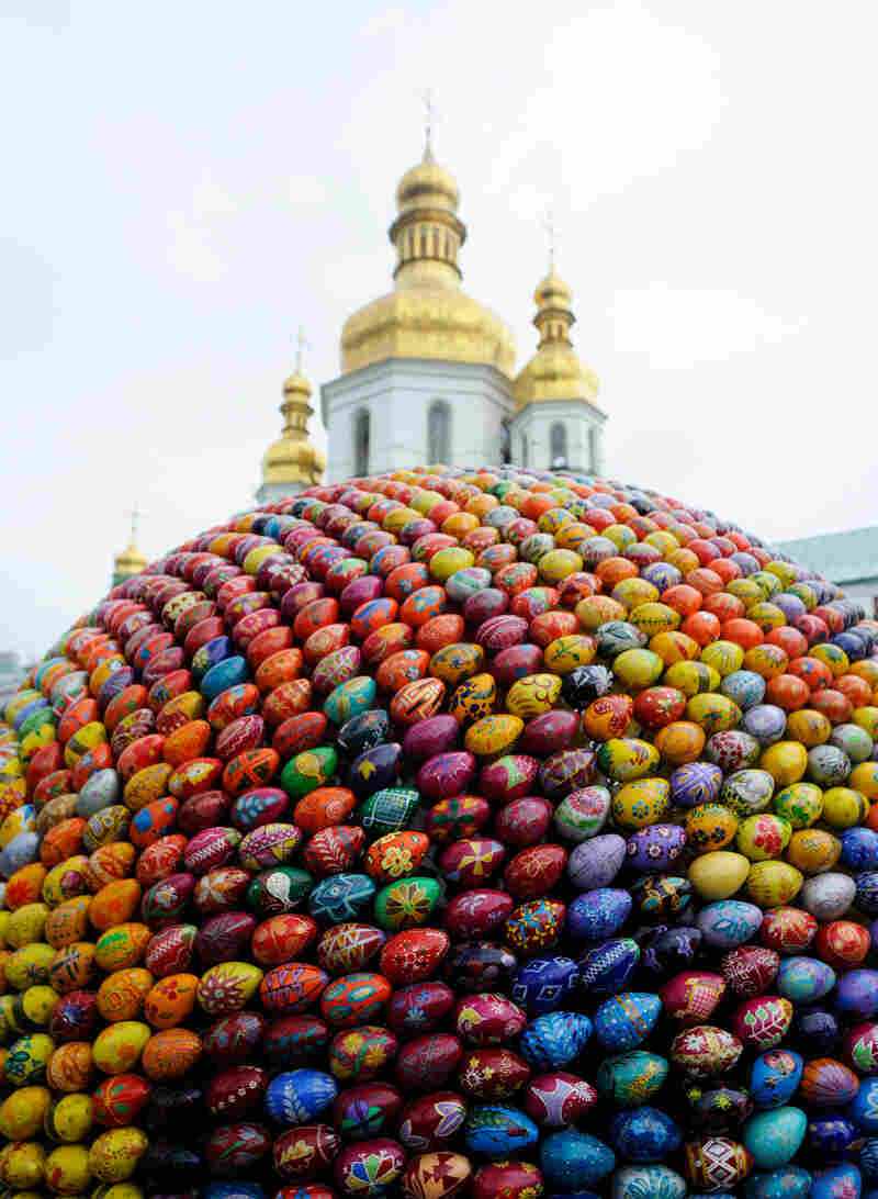 A sculpture made of 3,000 wooden painted Easter eggs constructed at the 1,000-year-old Monastery of Caves in Kiev, during Easter in 2010.