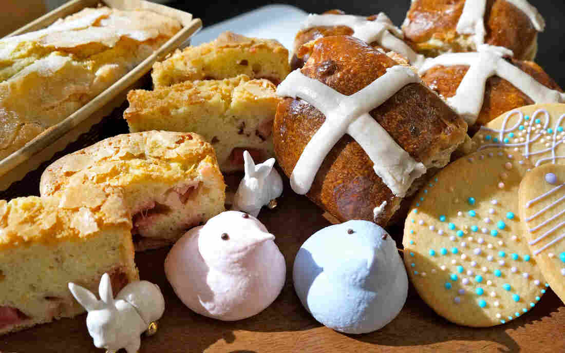 "Hot cross buns and other Easter treats from Flour Bakery in Boston. Flour sells the buns for about a month near Easter, but ""customers want them earlier every year,"" executive pastry chef Nicole Rhode says."
