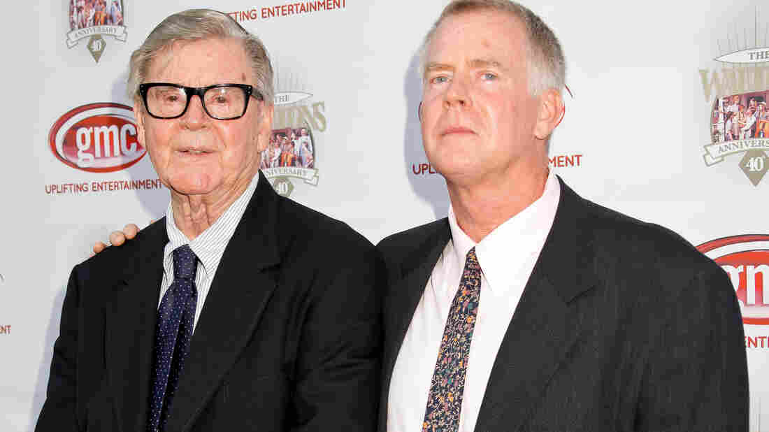 Earl Hamner Jr. and son Scott Hamner attend the 40th-anniversary reunion of The Waltons in Los Angeles in 2012.