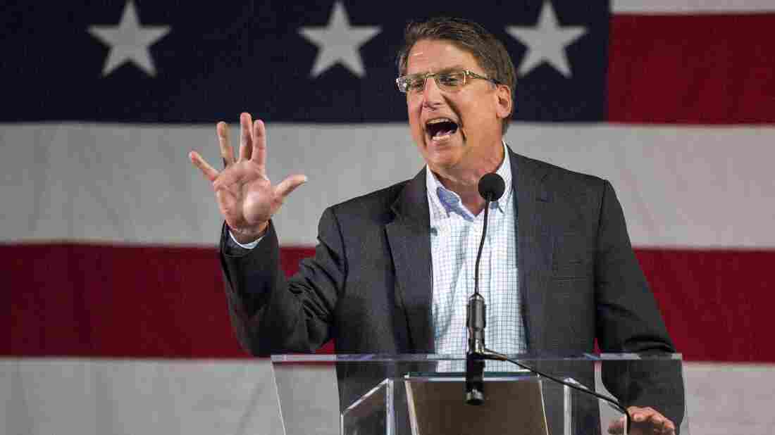 On Wednesday, North Carolina Gov. Pat McCrory signed into law a bill blocking anti-discrimination rules that would protect gay and transgender people. Above, McCrory speaks during the Wake County Republican convention at the state fairgrounds in Raleigh on March 8.