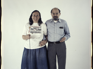 "Elsa Dorfman and Allen Ginsberg. The inscription on the bottom of the photo reads, ""October 15, 1988. The morning after our reception at Vision."""