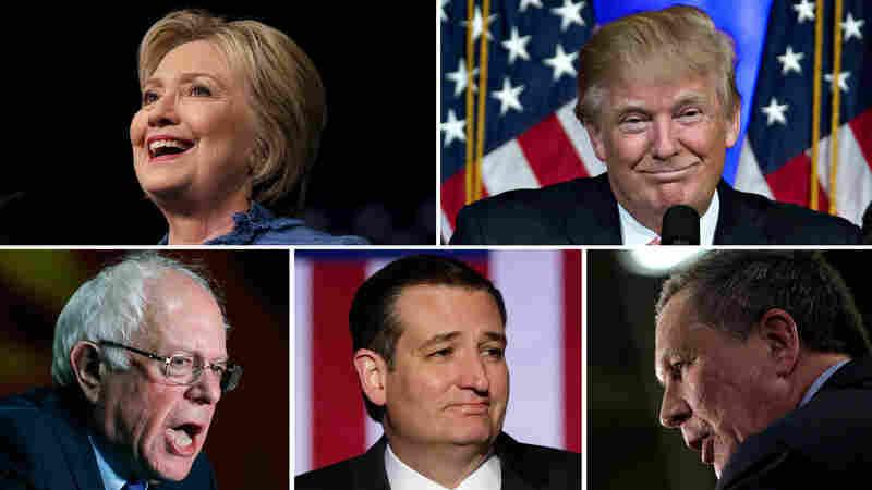 Clockwise from top left: Hillary Clinton, Donald Trump, John Kasich, Ted Cruz and Bernie Sander
