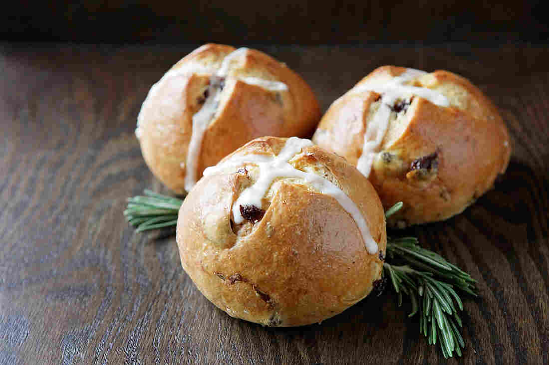 "A Rosemary Raisin roll, dubbed the ""Tuscan hot cross bun,"" from Macrina Bakery in Seattle."
