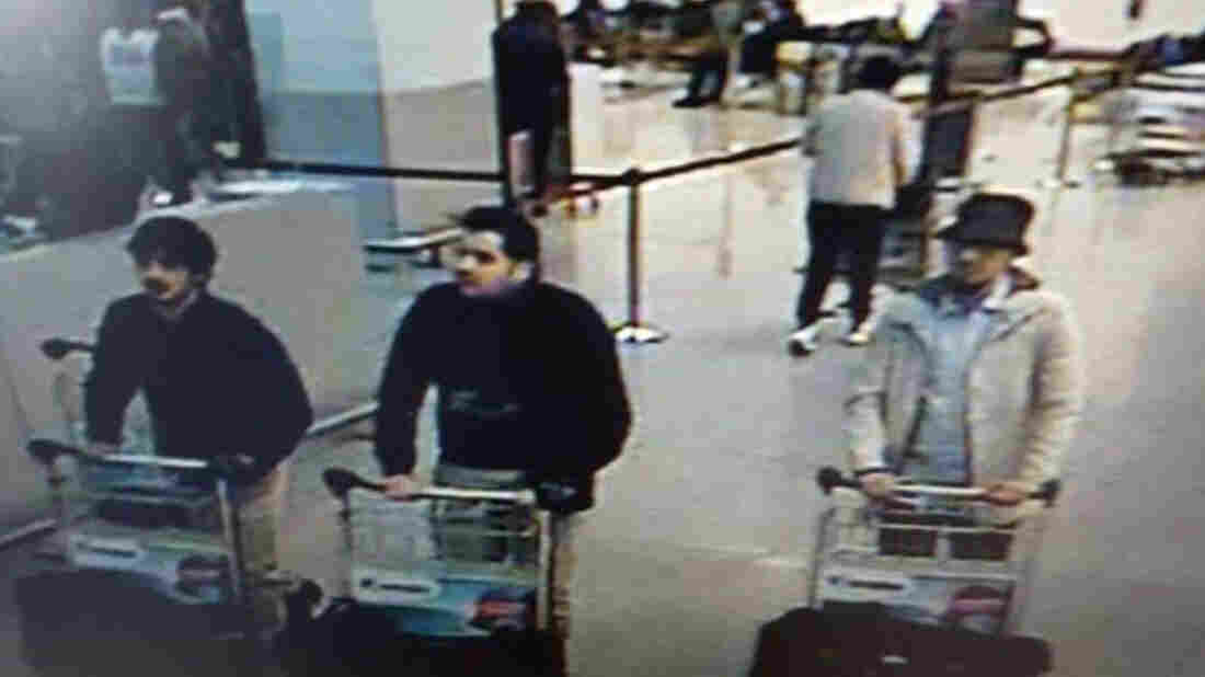 Ibrahim el-Bakraoui (center) appears in this image provided by the Belgian Federal Police in Brussels, on March 22. Turkish authorities say they warned both Belgium and the Netherlands of his terrorist links when Turkey deported him last year.