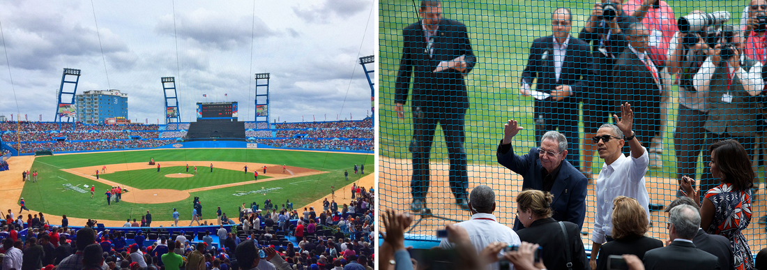 (Left) The field for the exhibition baseball game between the Tampa Bay Rays and the Cuban national baseball team; (right) President Obama and his Cuban counterpart Raul Castro wave to cheering fans as they arrive for the baseball game, in Havana on Tuesday.