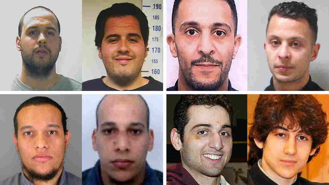 Brotherly bonds (clockwise from left): Khalid and Ibrahim el-Bakraoui were suicide bombers in Brussels. Brahim and Salah Abdeslam were involved in last November's Paris attacks. Dzhokhar and Tamerlan Tsarnaev bombed the Boston Marathon in 2013. Cherif and Said Kouachi committed the January 2015 attack on the French satirical magazine Charlie Hebdo.