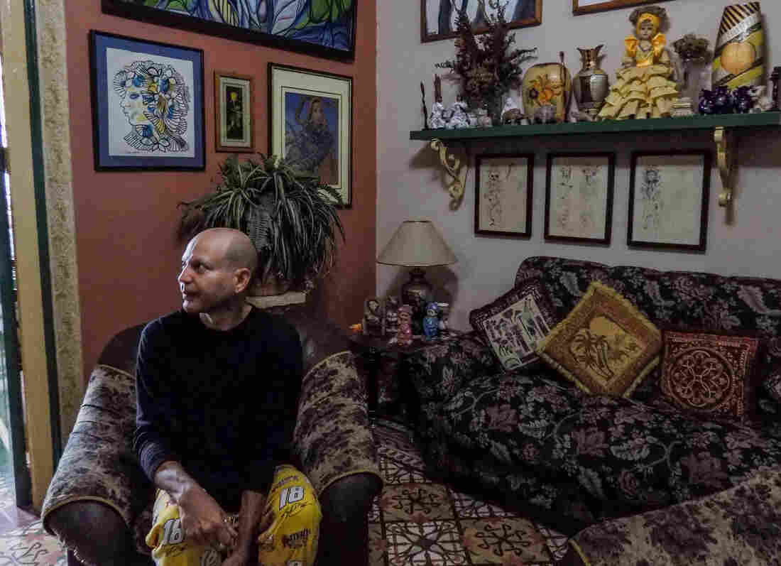 Some of the artwork in Martinez's Havana apartment were made by a friend from the sanitarium. The friend has since passed away.