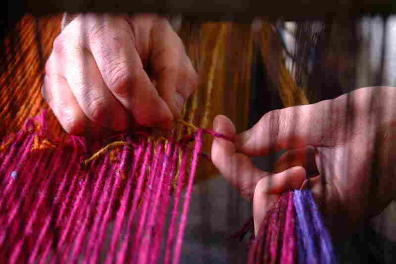 Contemporary yarns used an array of modern colors, like fuchsia, but still echo Irish traditions. These are hand-spun at Studio Donegal in Ireland.