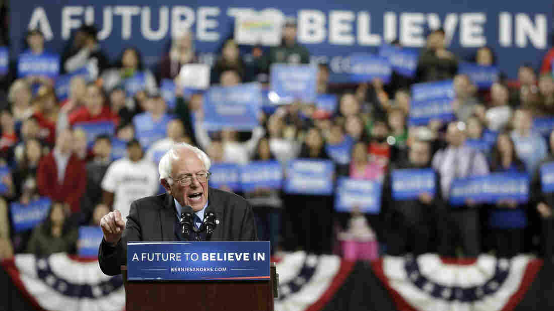 Bernie Sanders speaks at a rally Friday in Seattle. Sanders won by a big margin in Washington state and hopes to pick up more big wins in coming weeks.