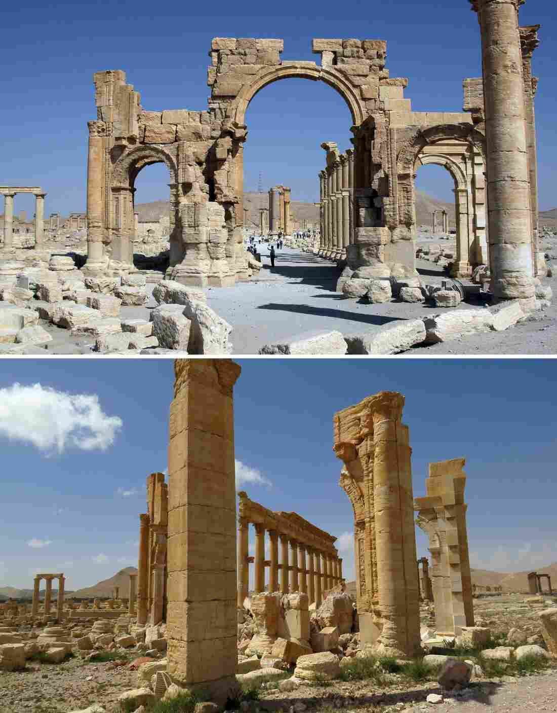 A combination of images shows a general view of the Arch of Triumph in June 2010 (top) and the remains of the iconic structure after government troops recaptured the ancient city of Palmyra from IS fighters.
