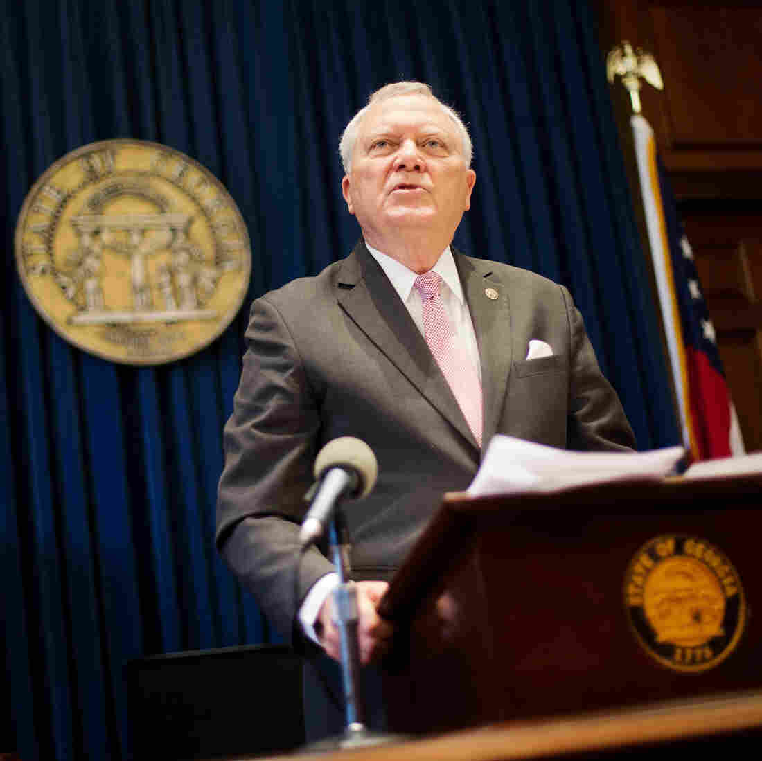 """Georgia Gov. Nathan Deal speaks during a press conference Monday in Atlanta to announce his rejection of a controversial """"religious liberty"""" bill. He said: """"I have examined the protections that this bill proposes to provide to the faith-based community and I can find no examples of any of those circumstances occurring in our state."""""""