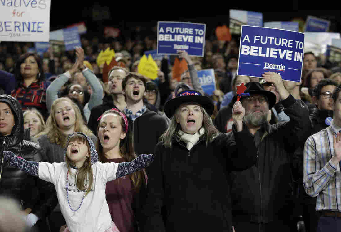 Supporters cheer for Democratic presidential candidate Bernie Sanders during a rally in Seattle.