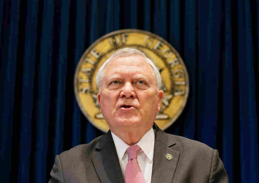 """Georgia Gov. Nathan Deal announces his veto of legislation that major corporations said could legalize discrimination. He said, """"I do not think that we have to discriminate against anyone to protect the faith-based community in Georgia."""""""