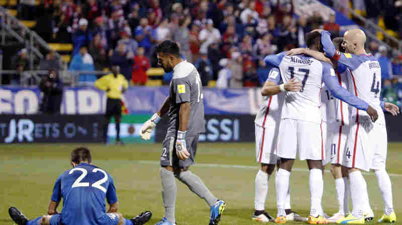 United States players celebrate a goal against Guatemala during the second half of a World Cup qualifying soccer match Tuesday in Columbus, Ohio. The United States beat Guatemala 4-0.