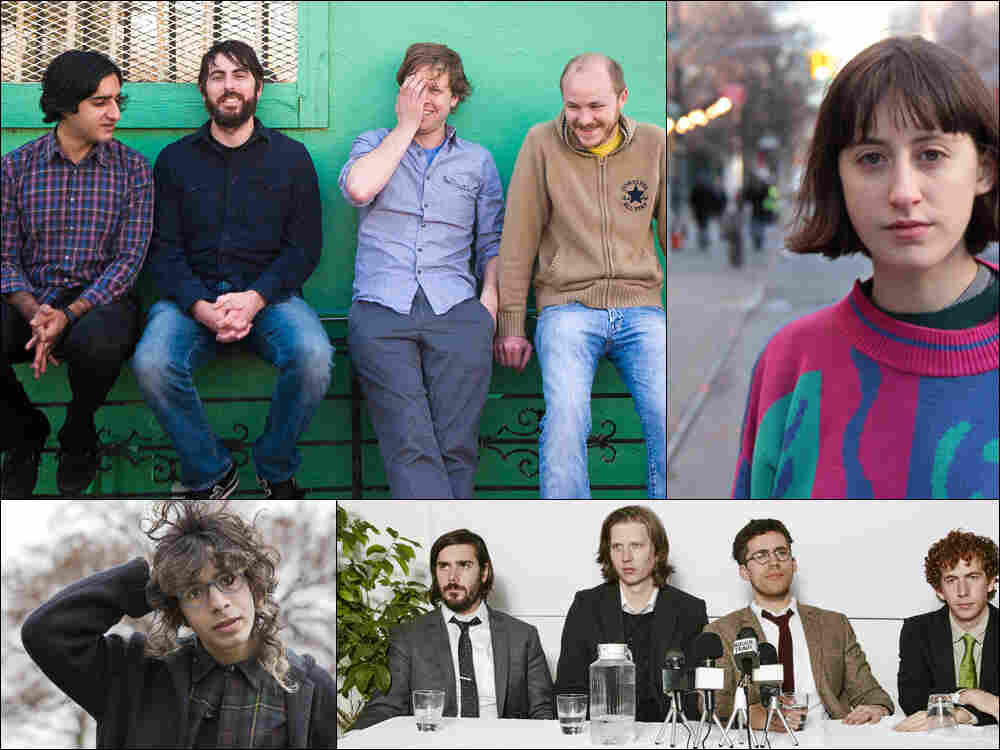 Clockwise from upper left: Explosions In The Sky, Frankie Cosmos, Parquet Courts, Told Slant