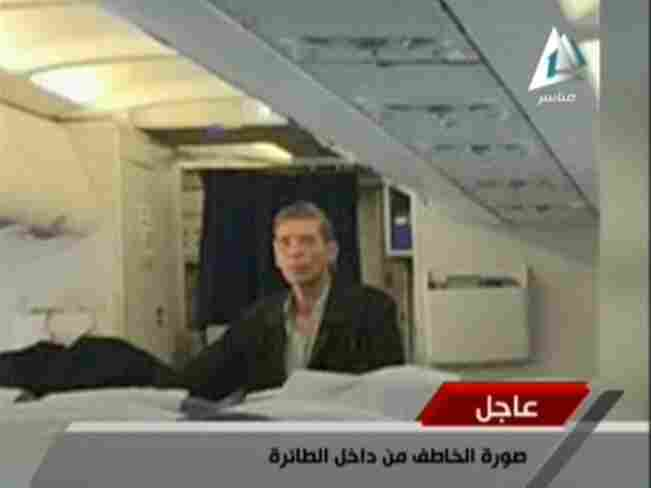 Egyptian state TV broadcast this image, which it says is the alleged hijacker aboard EgyptAir flight 181.