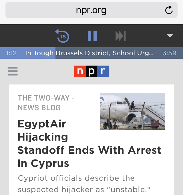 The new NPR.org audio player on a phone.
