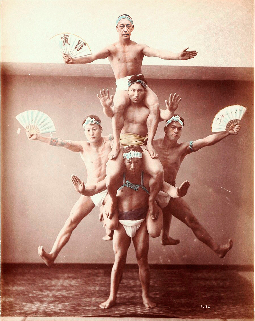 Rachmaninoff (top) briefly joined a troupe of travelling Japanese acrobats.