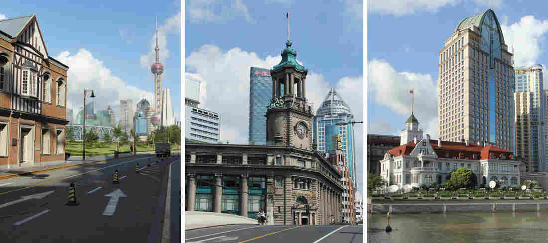 Prominent examples of the city's colonial architecture include the rowing club (in the photo on the left, with the modern Pearl Oriental Tower in the background), the 1924 post office on Suzhou Creek (center) and the old Imperial Russian Consulate (right) built in 1916.
