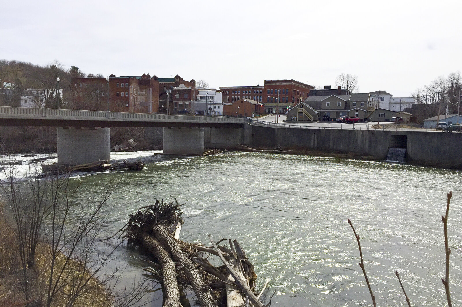 The village of Hoosick Falls, N.Y., sits along the Hoosick River in eastern New York. Elevated levels of a suspected carcinogen known as PFOA were found in the village's well water, which is now filtered.