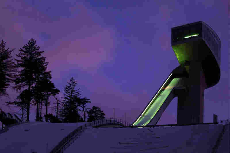 A view of the Bergisel Ski Jump during the 2012 Winter Youth Olympic Games Opening Ceremony in Innsbruck, Austria.