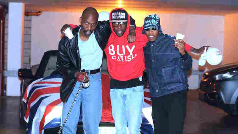 Dean Blunt, left, with the other two members of Babyfather, Escrow and Gassman, who have just released BBF Hosted by DJ Escrow.
