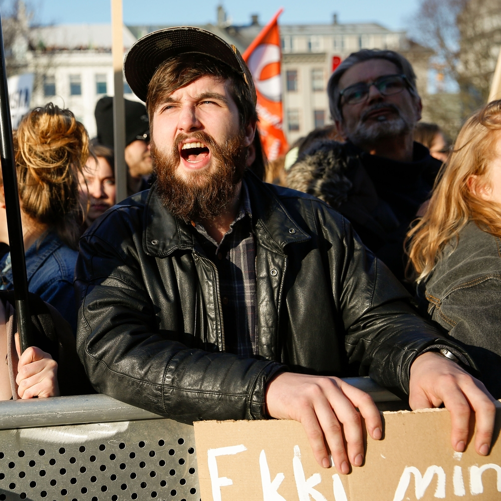 People in Reykjavik gather Monday to demonstrate against Sigmundur David Gunnlaugsson, Iceland's prime minister. Gunnlaugsson insisted he would not resign after leaked documents allegedly linked him to an offshore company that could represent a serious conflict of interest.