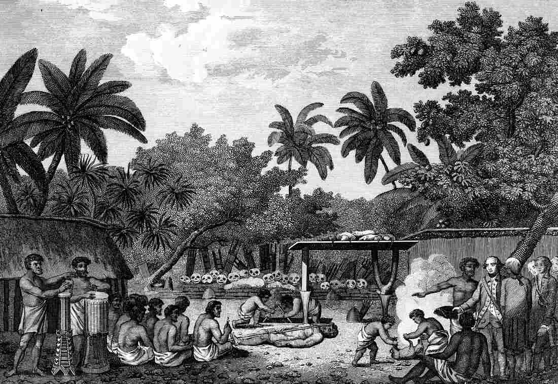 Human sacrifice helped solidify systems of social hierarchy, according to a new study of traditional cultures in the Pacific Ocean. Here, an engraving shows English explorer James Cook witnessing a human sacrifice ritual in Taihiti in the 1770s. The image comes from the 1815 edition of Cook's Voyages.