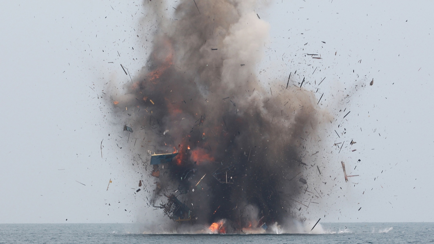 Smoke On The Water Indonesia Blows Up Fishing Boats Of Poachers Parallels Npr
