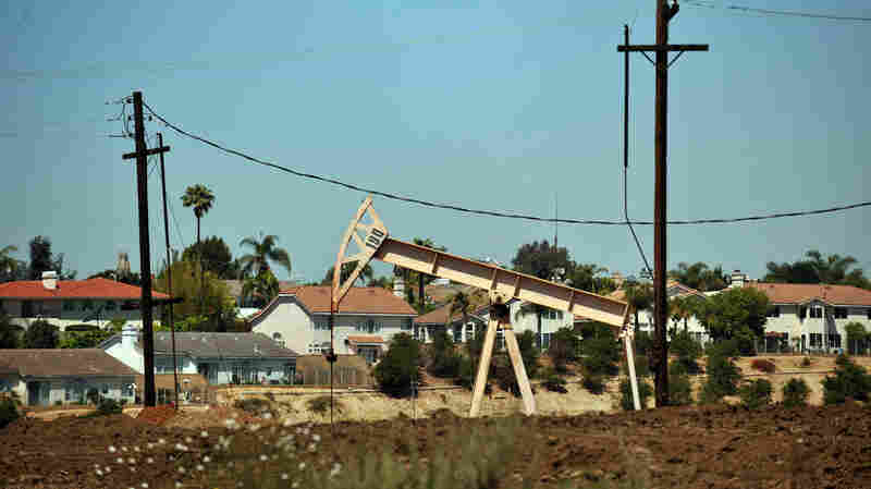 Oil rigs extract petroleum in Culver City, Calif., on May 16, 2008.