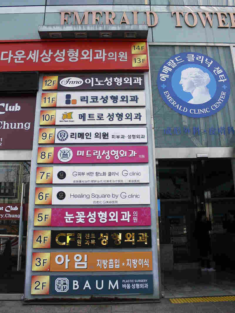 A floor-level guide to a multi-story building in Seoul's Gangnam district shows a different cosmetic surgery clinic on every floor.