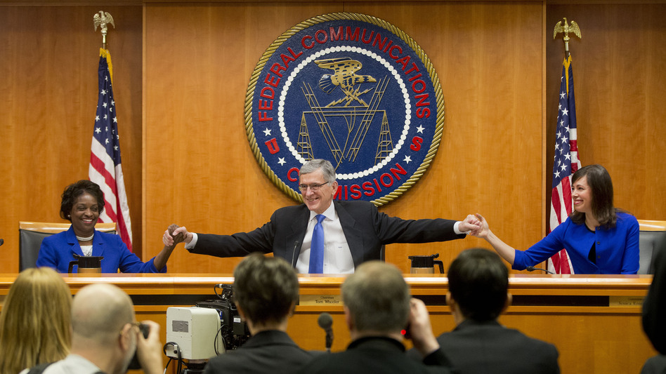 "The Democratic majority of the Federal Communications Commission voted to approve new ""net neutrality"" rules in February 2015, prompting a court challenge from Internet providers. (Pablo Martinez Monsivais/AP)"