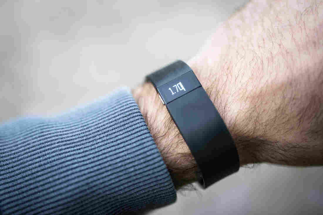 One version of the Fitbit, a popular fitness tracker.