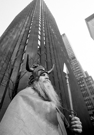 Moondog (Louis T. Hardin) photographed standing outside CBS headquarters at West 53rd Street and 6th Avenue in New York on April 21, 1972.