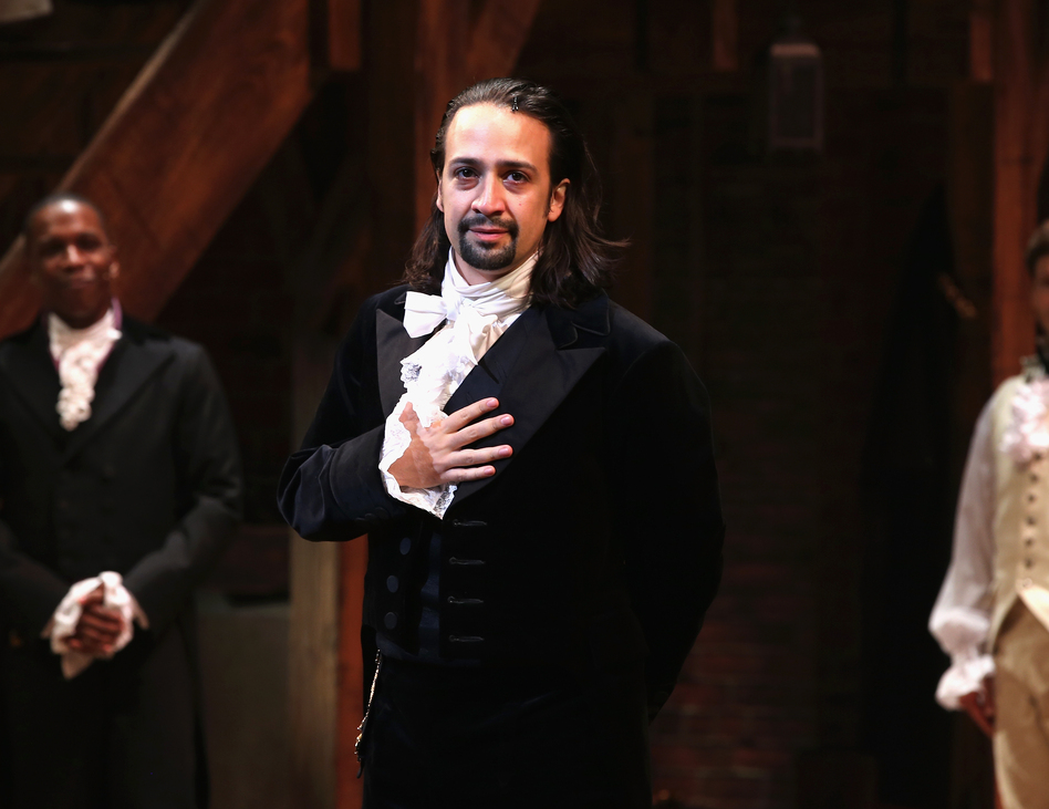 Lin-Manuel Miranda appears in <em>Hamilton's</em> opening night at the Richard Rodgers Theatre in New York City, in August 2015. (Neilson Barnard/Getty Images)