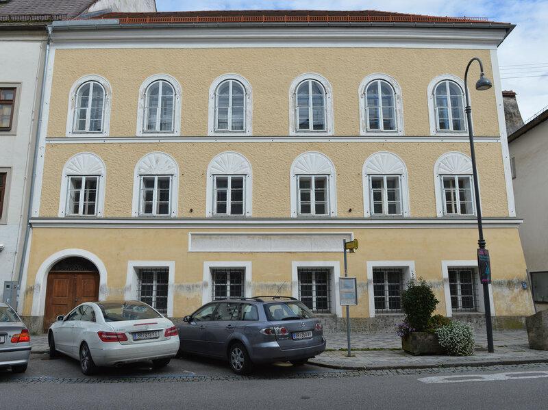 An exterior view of Adolf Hitler's birth house in Braunau am Inn, Austria.