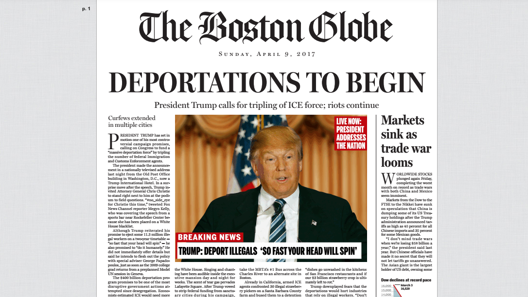 Boston Globe' Runs Fake Front Page Detailing A Donald Trump World