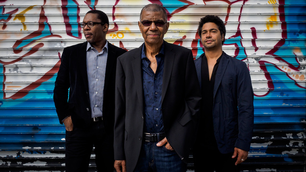 Jack DeJohnette (center) is pictured with Ravi Coltrane and Matt Garrison, who join him on the new album In Movement. (Courtesy of the artist)