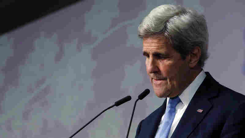 Secretary of State John Kerry pauses during his remarks about seeing the Hiroshima Peace Memorial Park and Museum, the site of the 1945 atomic bombing, during a news conference at the conclusion of the G-7 Foreign Ministers' Meetings in Hiroshima on Monday.
