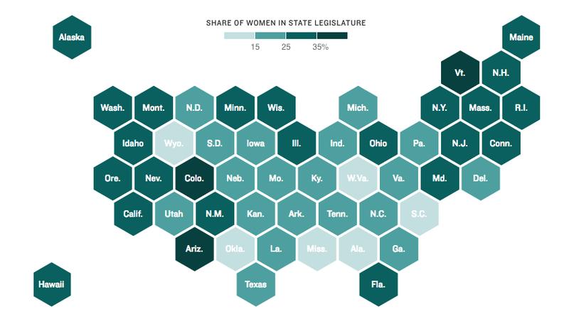 Map of women's representation in state legislatures
