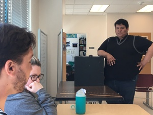 Ramirez gets feedback after presenting in a communications class. He delivers speeches about the struggles of being bilingual and bicultural in the United States.